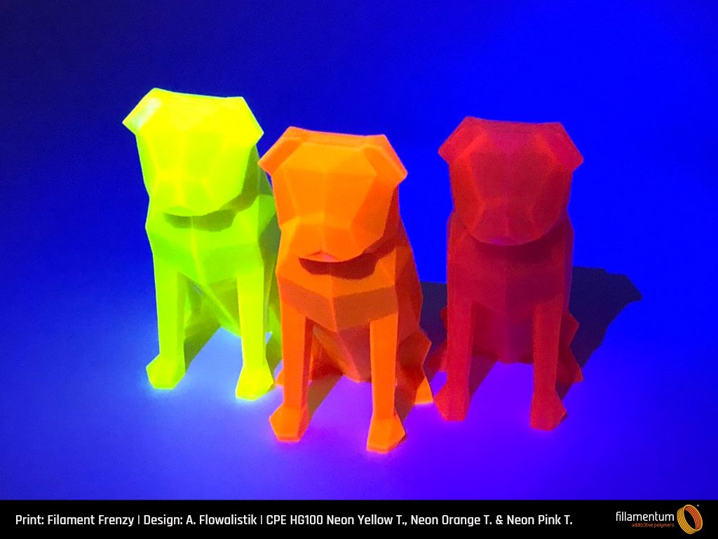 CPE_HG100_Neon_Yellow_Transparent_Neon_Orange_Transparent_Neon_Pink_Transparent_Filament_Frenzy_Low-poly_Pug_1